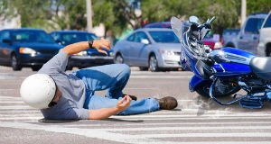 The exact moment when a motorcycle accident happens